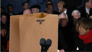 Pelosi and Schumer trapped in paper bag spoils protest